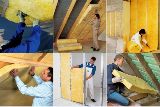 Eco Friendly Heat Proof Glass Wool Thermal Insulation In Building